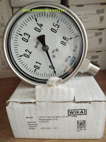 Đồng hồ đo áp suất Wika chân Inox