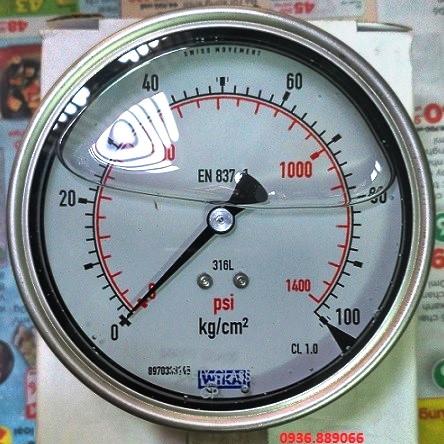 Đồng hồ đo áp lực Wika 0 - 100 kg/cm2
