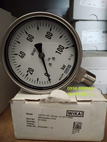 Wika 0-100 bar D100 chân đứng Inox
